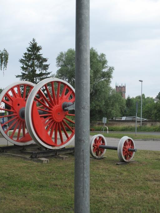 Blick auf Wasserturm Rostock, Eisenbahnwerke