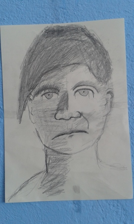 self portrait by resident in OInofyta refugee camp, Greece