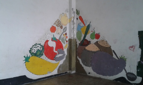 wall paint in kitchen of Oinofyta refugee camp, Greece