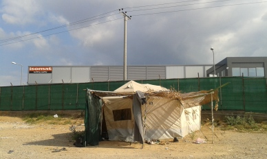 Tent at Refugee Camp in Oinofyta, Greece