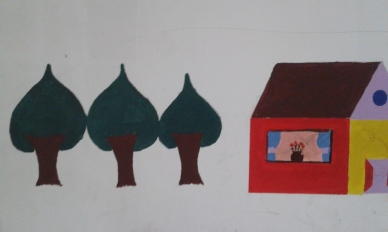 wall painting inside of Oinofyta refugee residence