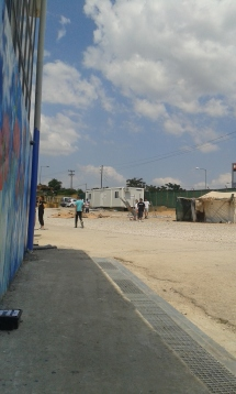 outside of warehouse in Oinofyta, Greece, residence for refugees